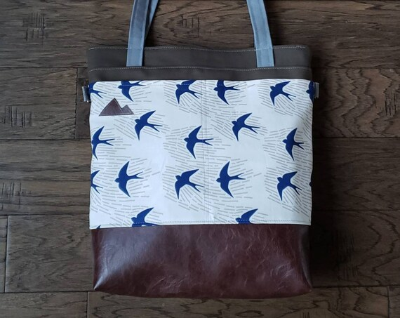 Large tote/Navy sparrows on ivory/Dark brown vegan leather/Olive green bull denim/Gray canvas straps/4 pockets/MTN patch