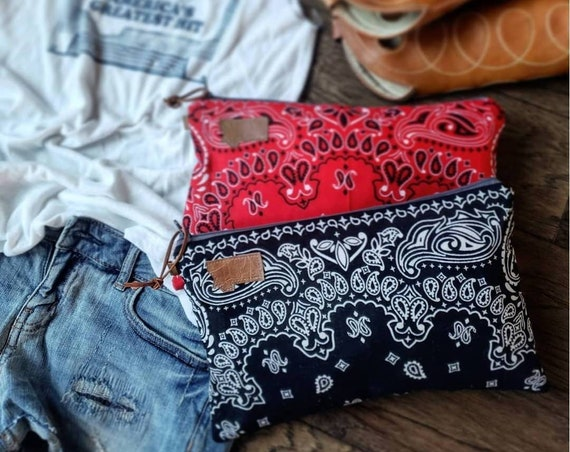 1 Bandana clutch/Choose red or black/Brown waxed canvas back/Gray zipper/Suede zipper pull/Natural canvas liner/Montana or Mountain patch