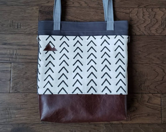 Large tote/Tan & black mudcloth flax print/Dark brown vegan leather/Graphite gray bull denim/Gray canvas straps/4 pockets/MTN patch