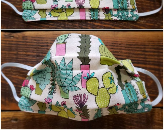 Cacti succulent mask/Basic fabric mask + elastic ear straps/NO returns, refunds, alterations or exchanges/Read description before purchasing