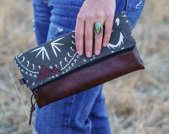 Foldover clutch/Charcoal gray bohemian print/Black canvas reverse/Black zipper/Montana or Mountain patch
