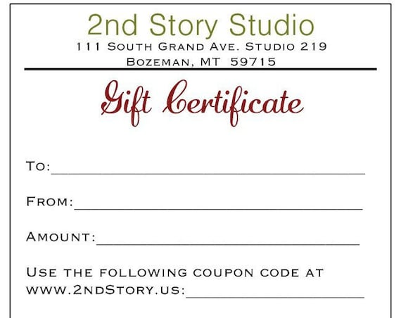 50 Dollar Gift Certificate (USD)