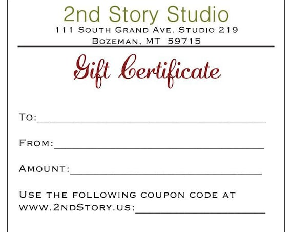 100 Dollar Gift Certificate (USD)