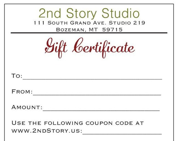 25 Dollar Gift Certificate (USD)