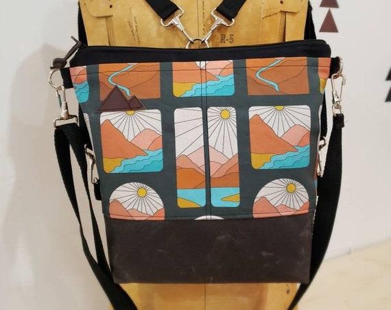 Convertible Backpack/Crossbody/Montana Soul print=2 front pockets/Black canvas/Black zip/Black adjustable nylon straps/MT or Mountain