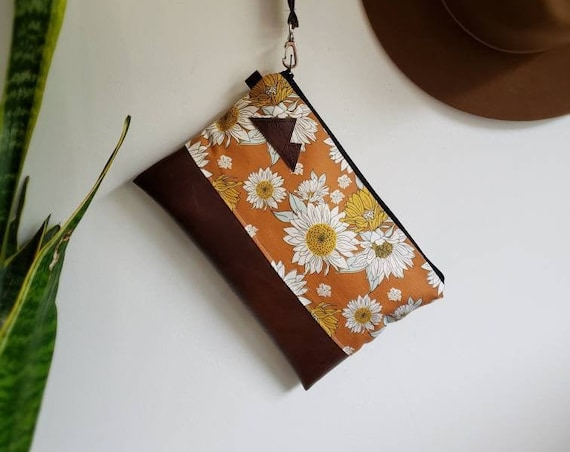 Wrstlet Grab & Go Clutch/Orange sunflower print front and back/Black zipper/Montana or Mountain patch