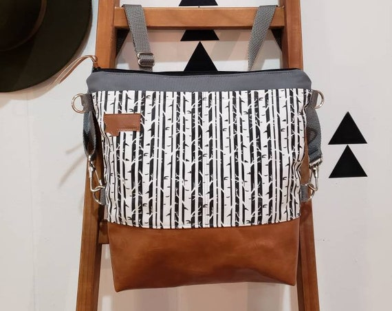 Convertible Backpack+Crossbody/Black & white birch print=2 front pockets/Vegan leather/Gray canvas shell/Black zipper/MT or MTN Patch