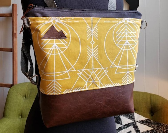 Convertible backpack crossbody/Yellow wanderer print=2 front pockets/Vegan leather/Graphite gray bull denim shell/Black zipper