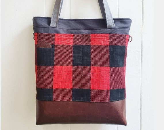 Large tote/Buffalo check canvas/Dark brown vegan leather/Graphite gray bull denim top and back/Gray canvas straps/4 pockets/Montana made