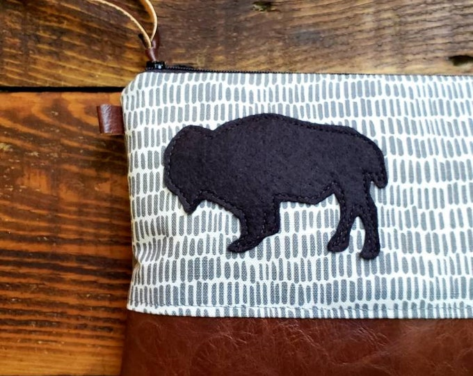 Featured listing image: ADD ON Bison patch/Add a gray, green, yellow or black wool felt bison patch to any bag purchase! This listing is for the bison patch only