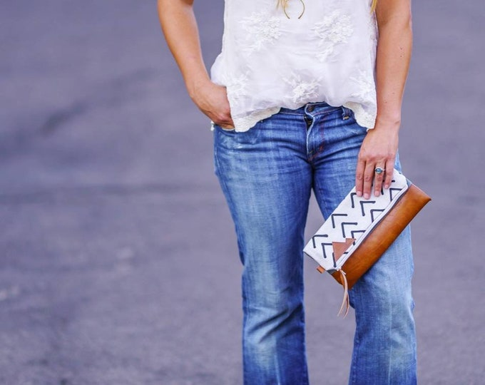 Featured listing image: Foldover clutch/Ivory & Dark brown flax mudcloth print/Gray canvas/Vegan leather details/White zipper/Made to order/Montana patch