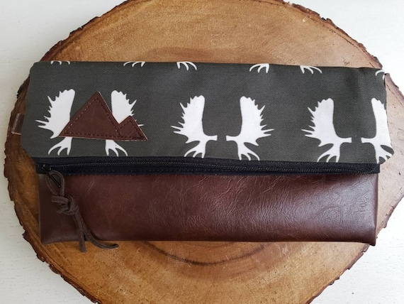 Foldover clutch/Charcoal gray moose antlers print/Black canvas reverse/Black zipper/Montana or Mountain patch