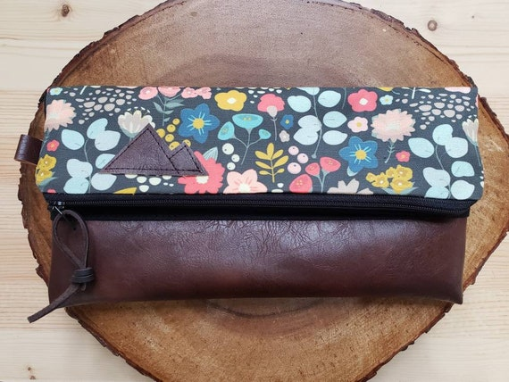 Foldover clutch/Bold Floral print/Black canvas reverse/Black zipper/Montana or Mountain patch