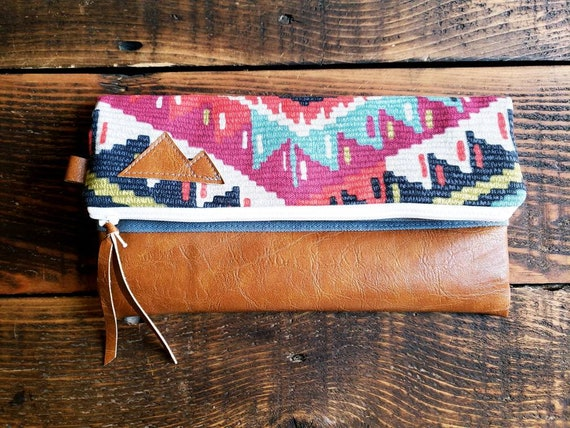 Foldover clutches/Persian print/Montana or Mountain patch/vegan leather details/White zipper/Gray canvas reverse/Made to order