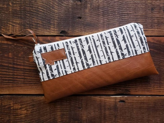 Wally clutch/Black & white birch print front and back/White zipper/Vegan leather details/Choose Montana or Mountain patch/ Montana bags