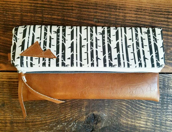 Foldover Clutch/Birch print in white and black/Gray canvas reverse/Caramel vegan leather/White zipper/Mountain patch