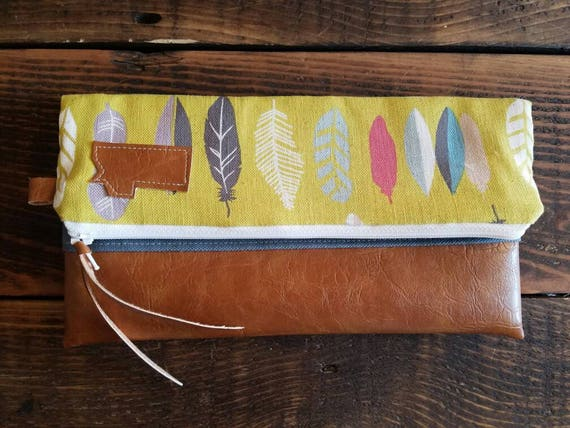 Foldover Montana Clutch - Yellow linen feather print