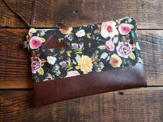 Grab & Go Clutch/Midnight floral on black front and back/White zipper/Vegan leather details/Montana or Mountain patch options