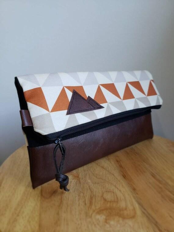 Foldover clutch/Merak print/Black canvas reverse/Black zipper/Montana or Mountain patch