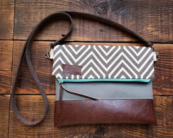 Crossbody/Gray & white geo print/Foldover Crossbody/Vegan leather/Teal zipper/Brown linen strap/Choose Montana or mounta patch/Montana bags