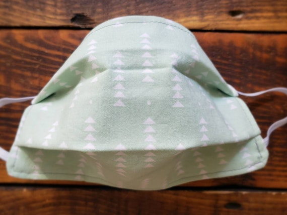 Mint triangles print/Basic fabric mask + elastic ear straps/NO returns, refunds, alterations or exchanges/Read description before purchasing
