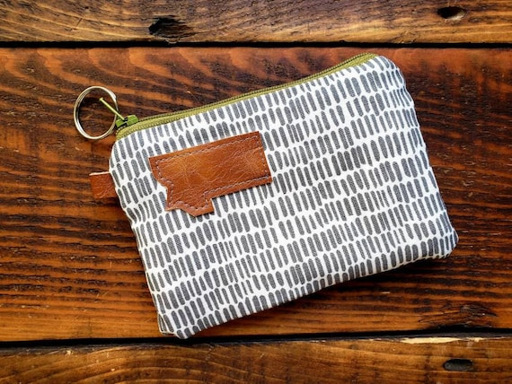 Coin/credit card pouch/Gray & white sketch print on front and back/Natural canvas liner/Green zipper/Mountain or Montana patch