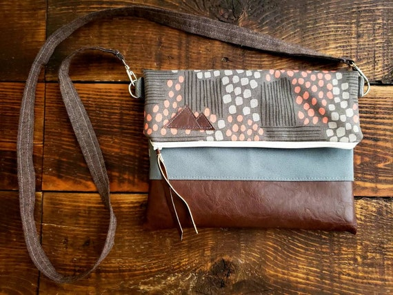 Crossbody/Flathead lake print in grays & peach/Foldover Crossbody/Vegan leather/White zipper/Made to order/Mountain or Montana patch