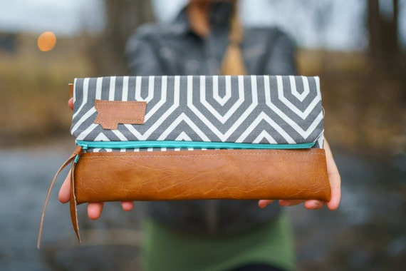 Foldover Montana Clutch/Gray geo print on both sides/Vegan leather details/Teal zipper/Choose your details/Made in Montana/Montana bags