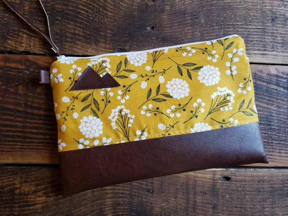Grab & Go Clutch/Lightweight cotton mustard yellow floral/White zipper/Vegan leather details/Montana or Mountain patch options