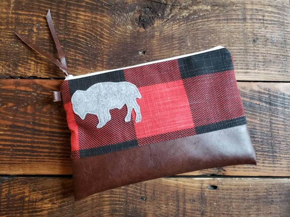Grab and Go Clutch/Large print buffalo check canvas red&black/White zipper/Vegan leather details/Wool bison patch 4 color options/Made in MT