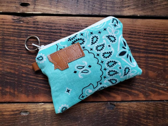 X-1 Coin/credit card pouch/Teal bandanna print/Dark brown waxed canvas back/Gray canvas liner/White zipper/Choose Montana or Mountain patch