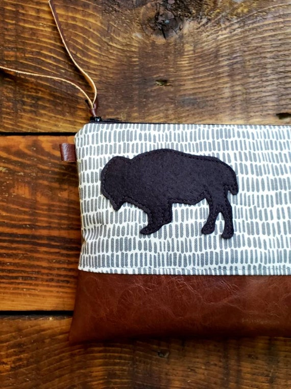 ADD ON Bison patch/Add a gray, green, yellow or black wool felt bison patch to any bag purchase! This listing is for the bison patch only