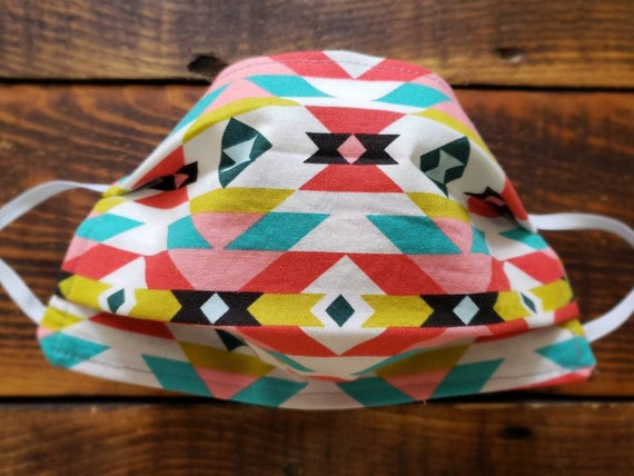 Western colorful/Basic fabric mask + elastic ear straps/NO returns, refunds, alterations or exchanges/Read description before purchasing