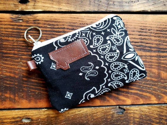 X-1 Coin/credit card pouch/Black bandanna print/Dark brown waxed canvas back/Gray canvas liner/White zipper/Choose Montana or Mountain patch