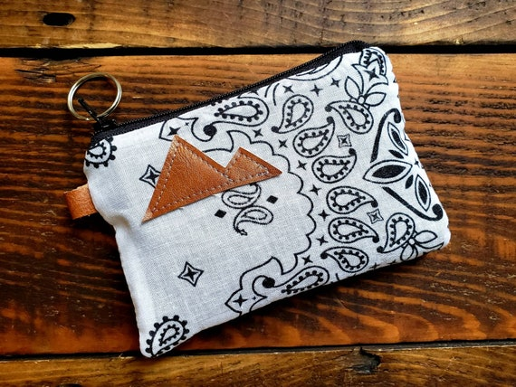 X-1 Coin/credit card pouch/White bandanna print/Dark brown waxed canvas back/Gray canvas liner/Black zipper/Choose Montana or Mountain patch