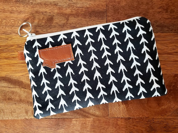 Phone pouch/credit card pouch/Black & white snow ghost print front and back/Natural canvas liner/White zipper/Montana or Mountain patch