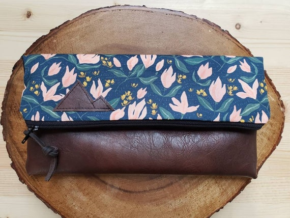Foldover clutch/Spring Floral print/Black canvas reverse/Black zipper/Montana or Mountain patch