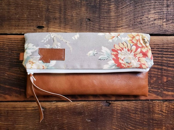 Foldover clutch/Vintage gray floral print/Vegan leather details-dark or caramel brown/White zipper/Mountain or Montana patch/Made to order/