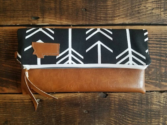 Montana foldover clutch/Black with white arrows/Gray canvas reverse/White zipper/ Caramel brown vegan leather details/Made to order