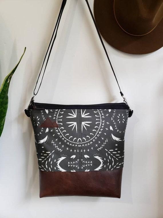 Large crossbody/Bohemian print in charcoal = 2 front pockets/Black canvas/Black zipper/Black adjustable nylon strap