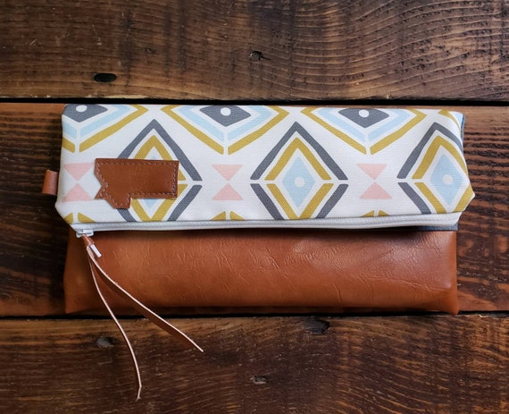 Foldover clutch/Treasure print/Vegan leather details-dark or caramel brown/White zipper/Mountain or Montana patch/Made to order/Made in MT