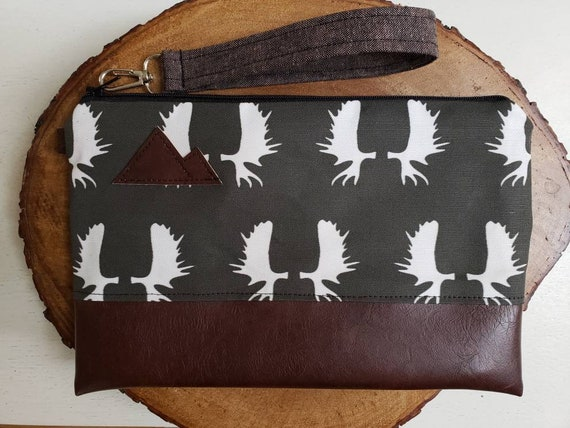Wrstlet Grab & Go Clutch/Charcoal gray moose antlers print front and back/Black zipper/Montana or Mountain patch