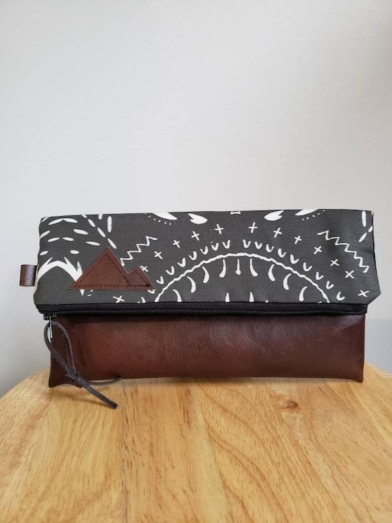 Foldover clutch/Bohemian print in charcoal/Black canvas reverse/Black zipper/Montana or Mountain patch