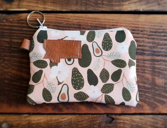 Coin pouch/credit card pouch/Avacocado print on peach front and back/Natural canvas liner/White zipper/MT or Mountain patch/Vegan leather