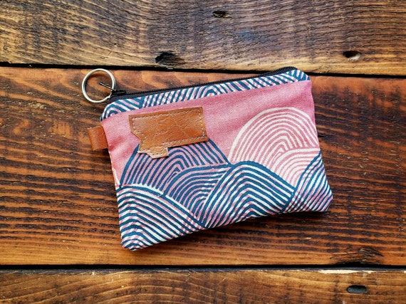 Coin/credit card pouch/Sunset print front and back/Natural canvas liner/Black zipper/Montana or mountain patch