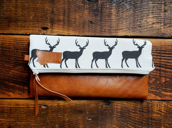 Foldover Clutch/Deer print in white and black/Gray canvas reverse/Vegan leather/White zipper/Mountain or Montana patch/Mix and match