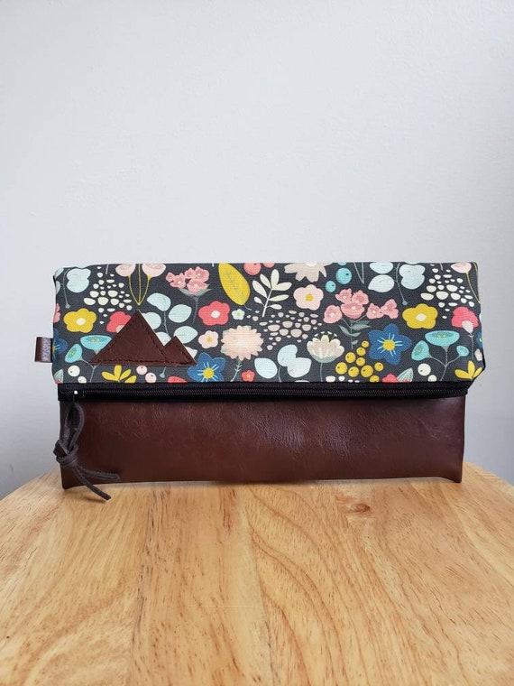 Foldover clutch/Bold floral print/Black canvas reverse/Black zipper/Montana or Mountain patch