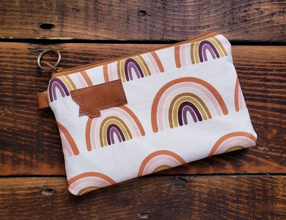 Phone pouch/credit card pouch/Rainbow print front and back/Natural canvas liner/Gingerbread color zipper/Montana or Mountain patch