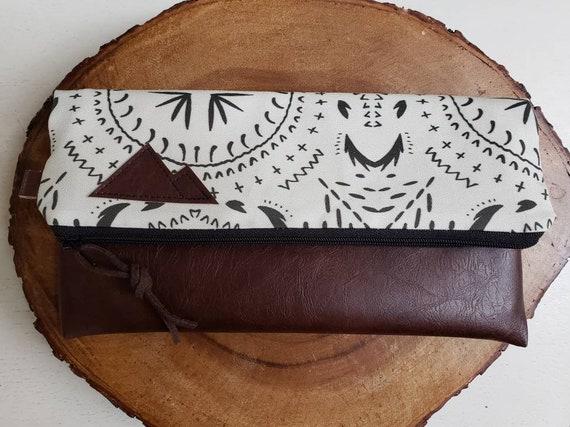 Foldover clutch/Ivory & black bohemian print/Black canvas reverse/Black zipper/Montana or Mountain patch
