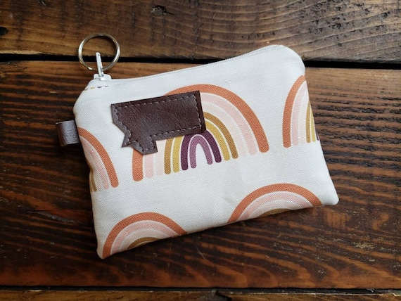 Coin pouch/credit card pouch/Rainbow print front and back/Natural canvas liner/White zipper/Montana or Mountain patch/Vegan leather